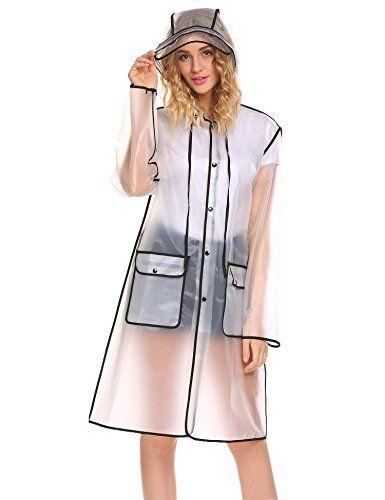 Kisshes Damen Transparent Regenjacke Regenmantel Wasserdicht