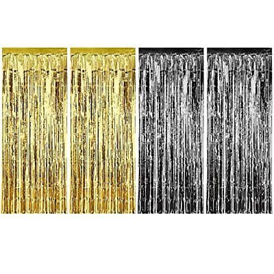 Sumind 4 Pack Foil Curtains Metallic Fringe Curtains Shimmer Curtain For Wedding Curtain Fringe Foil Curtain Metallic Christmas Decor