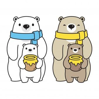 Oso Vector De Dibujos Animados De La Familia De Miel Oso Polar Oso Polar Dibujo Ilustracion De Oso Oso Polar