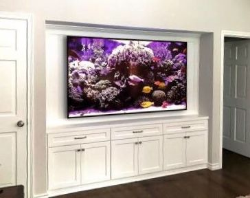 Before And After How To Update Your Deep Cabinetry To House A Big Flat Screen Tv Designed Big Tv Wall Living Room Tv Wall Tv Wall Design