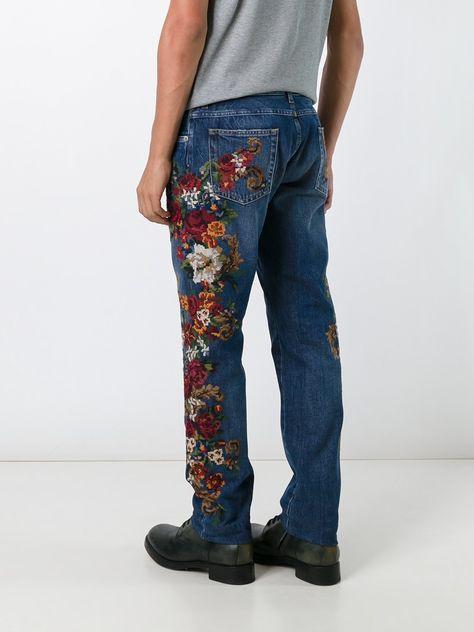 Dolce & Gabbana Calça jeans com bordado floral