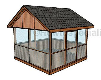 Screened In Gazebo Building Plans I Hip Roof 12 X 12 Etsy In 2021 Wooden Gazebo Plans Gazebo Plans Screened Gazebo