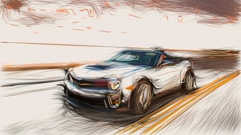 Chevrolet Camaro Zl1 Convertible Draw Art Print By Carstoon