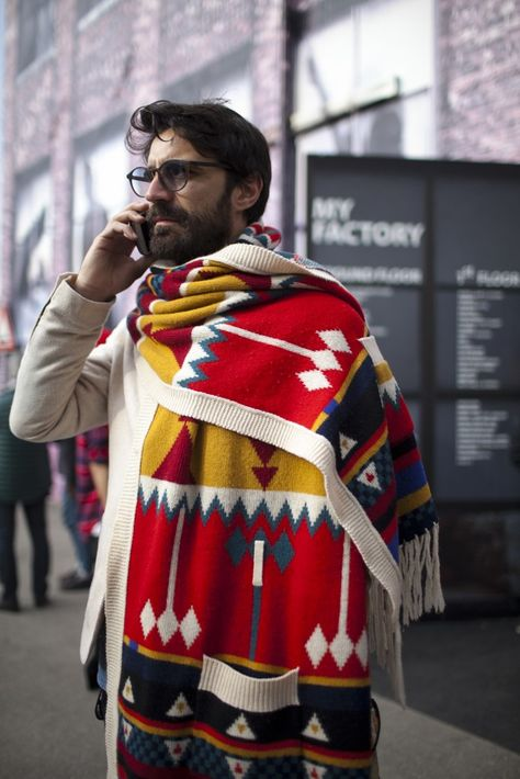 I love that!! Wonderful inspiration from Native American print... By: They Are Wearing: Pitti Uomo - Slideshow