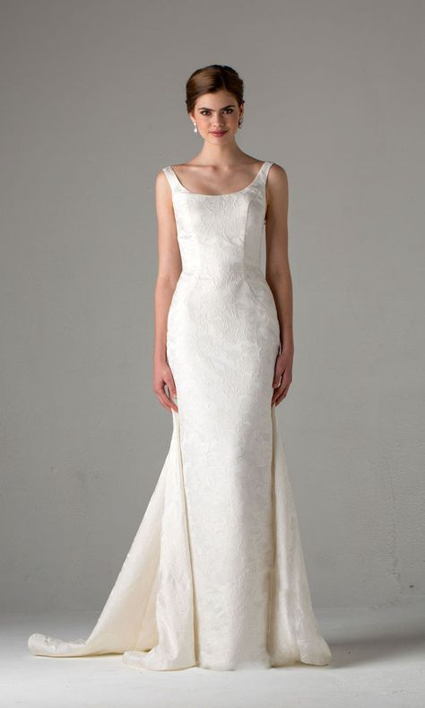 The train on this classic wedding dress is just gorgeous! Dress: Anne Barge