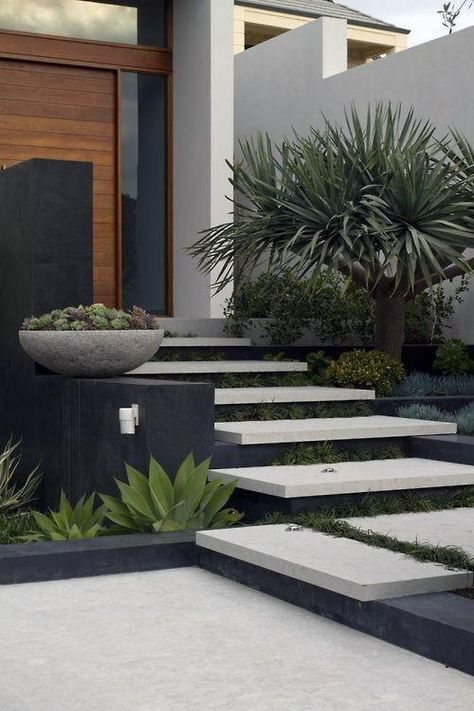 Top 70 Best Modern Landscape Design Ideas - Landscaping Inspiration - - From the front yard to the back yard and beyond, discover the top 70 best modern landscape design ideas. Modern Landscape Design, Modern Garden Design, Landscape Plans, Contemporary Landscape, Modern Design, Landscape Stairs, House Landscape, Landscape Architecture, Terrace Garden Design