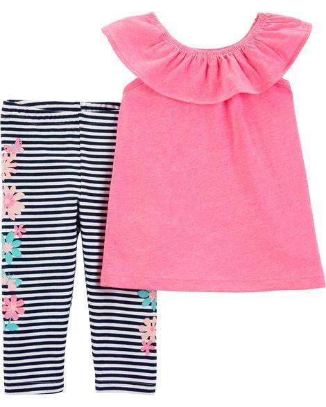 Baby Girl 2 Piece Flutter Scoop Neck Top Striped Capri Legging Set From Carters Com Shop Clothing Acce Pretty Leggings Tops For Leggings Carters Baby Girl