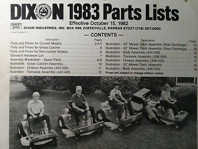 Dixon Ztr Zero Turn Riding Lawn Mower Tractor 1983 Parts Catalog Manual 308 426 In 2020 Lawn Mower Tractor Riding Lawn Mowers Lawn Mower