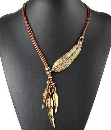 Vintage Crystal Feather Leaf Pendant Necklace Statement Bib Tassel Leather Cords