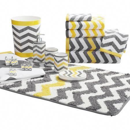 Mainstays Chevron Decorative Bath Towel, Grey And Yellow Bathroom Rugs