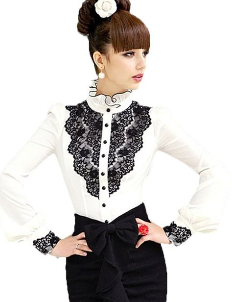 55d52029f515e PrettyGuide Women Stand-Up Collar Lotus Ruffle Shirts Blouse at Amazon  Women s Clothing store