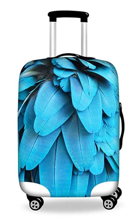Peacocks Pattern Travel Luggage Cover Stretchable Polyester Suitcase Protector Fits 18-20 Inches Luggage