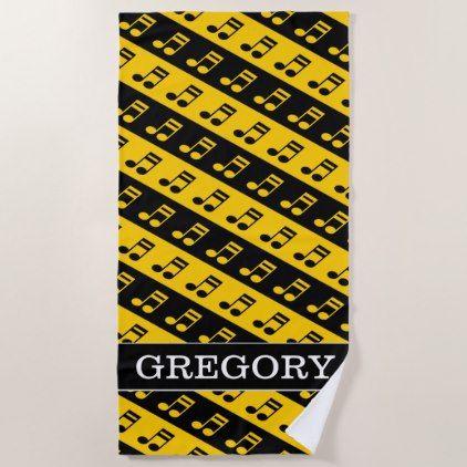 Black Yellow Beamed Sixteenth Notes Pattern Beach Towel Zazzle