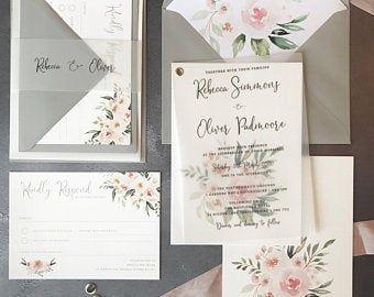 Pin By Fancy Post On Https Www Etsy Com Uk Shop Fancypostuk Black And White Wedding Invitations Wedding Invitation Sets Pink Wedding Invitations
