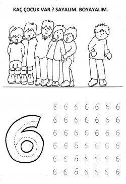 Alti 6 Rakami Cizgi Calismasi Ve Boyama Sayfasi Okul