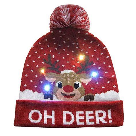 a6a765883e5 Cinhent Hat Women Mens LED Light-Up Ugly Sweater Holiday Xmas Christmas  Beanie