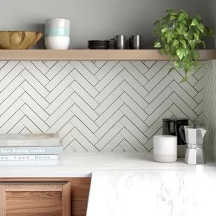 Retro Soho x Porcelain Subway Tile Finish: Matte White Backsplash, Kitchen Tiles Backsplash, Kitchen Wall, Kitchen Remodel, Kitchen Wall Tiles, Decor, Kitchen Design, Kitchen Backsplash Designs, Wall Tiles