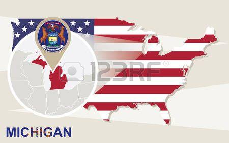 Mapa De EEUU Con Magnificada Del Estado De Michigan Bandera De - Mapa de michigan
