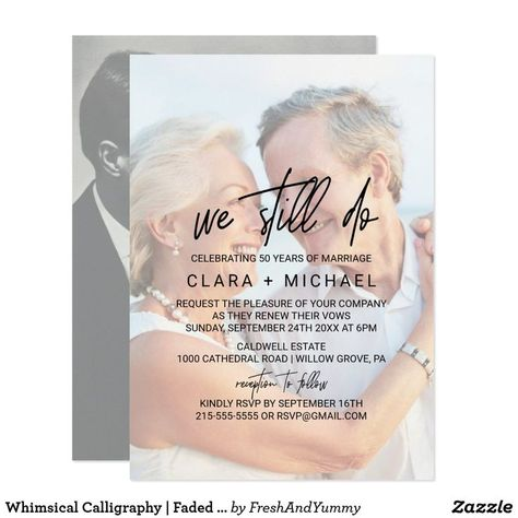 Whimsical Calligraphy | Faded Photo Vow Renewal Invitation | Zazzle.com
