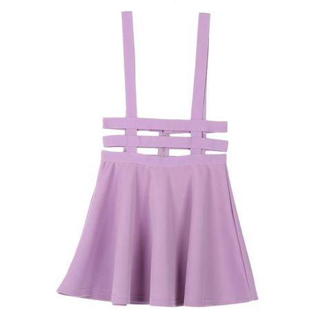 Skirt Mini Retro Ruffles Skater Pleated Short Braces Skirt - Purple / One Size / GERMANY