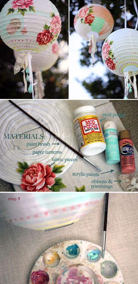 DIY decorated lantern - tutorial by Marieta at 'quiera una boda perfecta' http://www.quierounabodaperfecta.com/2012/06/tutorial-decora-las-lamparas-de-tu-boda.html