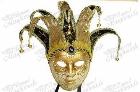Full Face Men Venetian Theater Jester Joker Masquerade Mask Bells Mardi Gras