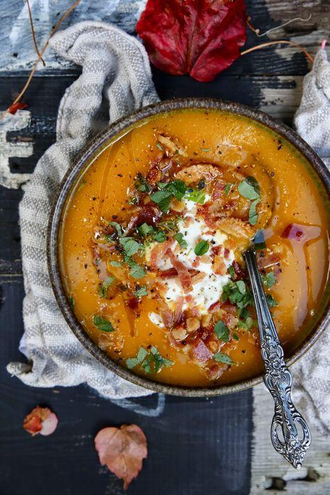 Pumpkin, Oregano & Garlic Soup with Crispy Bacon Crumbs | Petite Kitchen