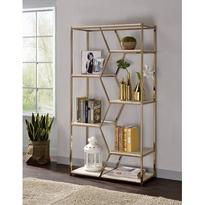 Everly Quinn Pateros Geometric Bookcase Colour Chrome In 2020