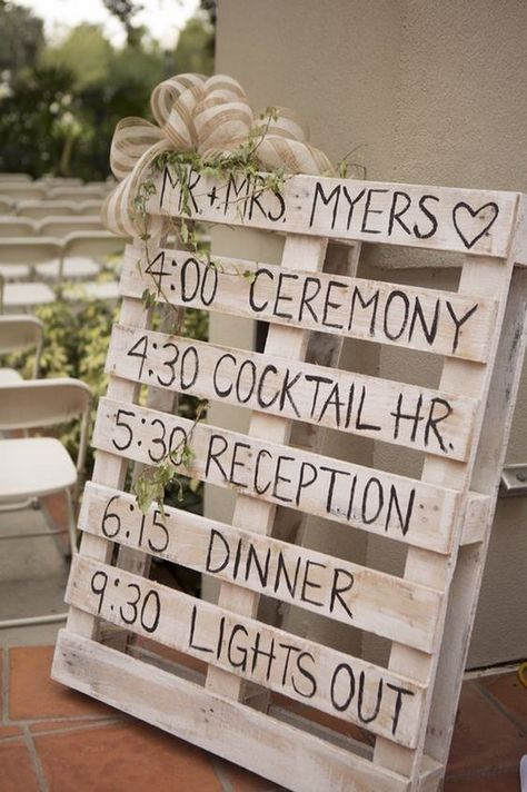 24 DIY Country Wedding Ideas with Pallets to Save Budget rustic diy pallet wedding timeline sign ideas. Wedding Timeline, Wedding Programs, Wedding Signs, Our Wedding, Wedding Reception, Perfect Wedding, Dream Wedding, Wedding Venues, Wedding Photos