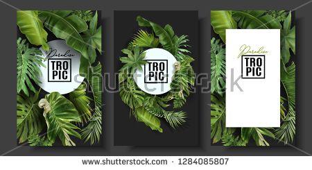 Vectorsicon Com Download Icons Vectors Photos Illustration Music Footage Vector Banners Set With Gr Tropical Leaves Florist Shop Wedding Invitation Cards