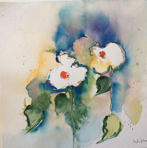 Original Aquarell Aquarellmalerei Bild Kunst Abstrakt Blumen Art