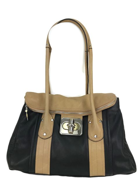 b27df915cea0 B. Makowsky Black Tan Rockefeller Glove Leather Medium Flap Satchel Retail   248  BMakowsky  Satchel