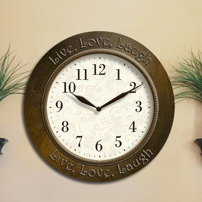 Westclox Clocks Live Love Laugh Inspirational 11 Wall Clock Gold Wall Clock Clock Metal Clock