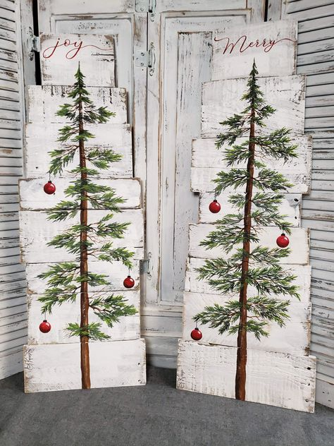 Hand painted Christmas tree on pallet wood, Merry, farmhouse white washed decor