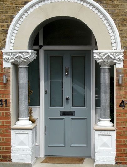 Edwardian style front door in Herne Hill, painted in a satin ...