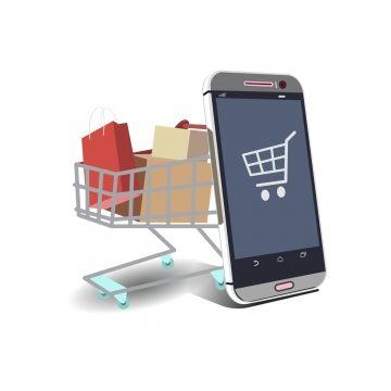 التسوق عبر الإنترنت ناقلات التوضيح معزولة من الهاتف الذكي مع عربة التسوق على خلفية بيضاء أيقونات الإنترنت أيقونات الهواتف الذكية أيقونات سلة التسوق Png والمت Online Icon Powerpoint Presentation Design Smartphone