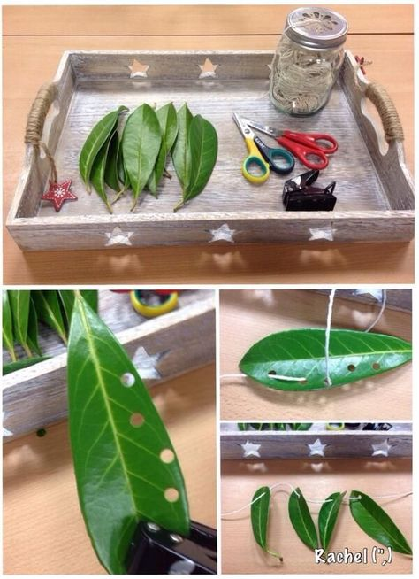 Punching & threading with leaves - a Hungry Caterpillar fine motor activity.  #finemotor