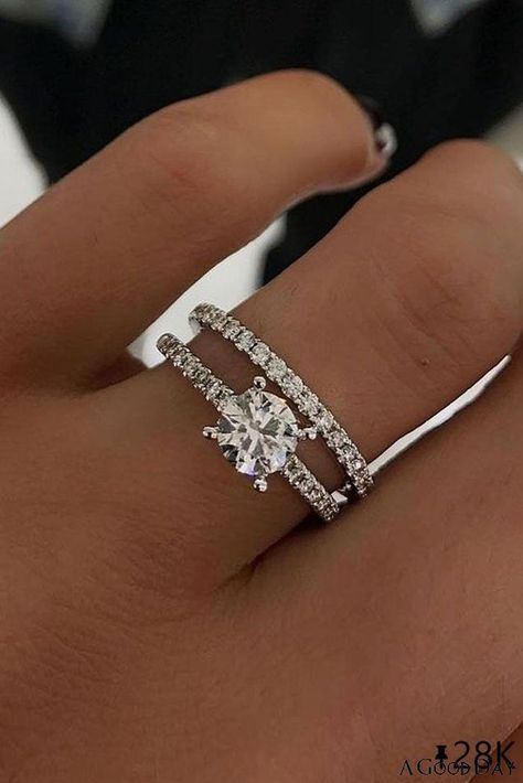 33 Uncommonly Beautiful Diamond Wedding Rings  Popular jewelers created gorgeous collections with wedding rings. Browse our gallery of the most popular photo of diamond wedding rings and... #ohsoperfectproposal #diamondrings #weddingrings #proposalideas #weddingbands #bestrings #roundcutrings #weddingbands #threestonerings #weddingringsets #whitegoldweddingrings #diamondweddingrings ...sanite stone of 7 to 8 mm diameter.Compare that price to buying the same ring with equivalent diamonds and you  Wedding Rings Simple, Beautiful Wedding Rings, White Gold Wedding Rings, Wedding Rings For Women, Diamond Wedding Rings, Unique Rings, Diamond Rings, Wedding Rings Sets His And Hers, Celtic Wedding Rings
