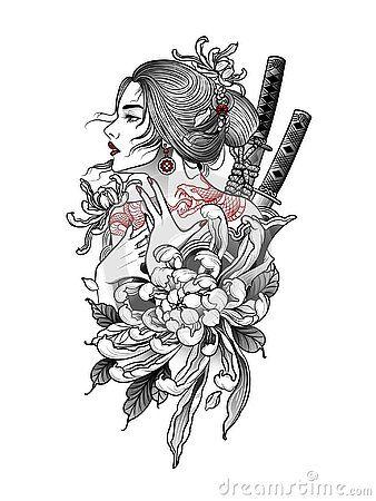 Japanese Samurai Woman With Snake Tattoo On Her Back In 2020 Japanese Tattoo Designs Japanese Tattoo Art Geisha Tattoo Design