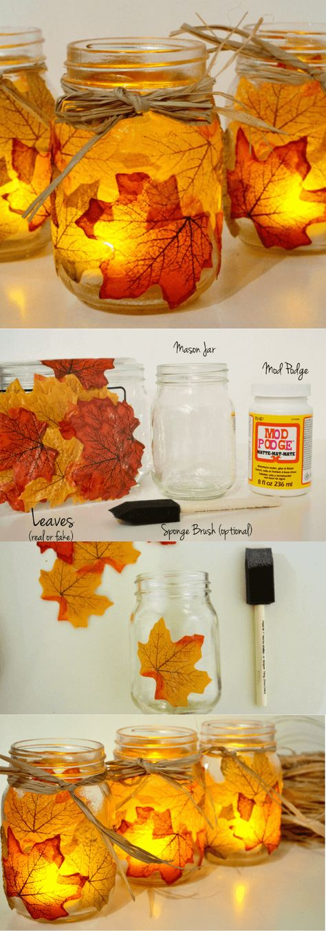 Leaf Mason Jar Candle Holder | Creative DIY Mason Jar Light Ideas & Designs #masonjars #masonjarideas #lightingideas #lightingdesign
