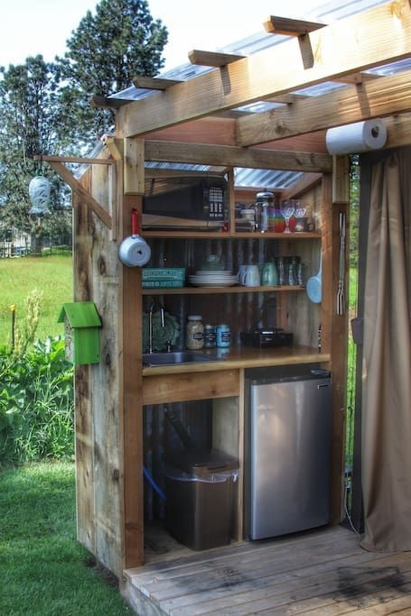 Your Kitchenette Micro Fridge Hot Plate Dishes And Cookware Bbq Shed Outdoor Kitchen Rustic Outdoor Bar