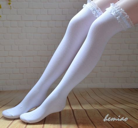Wedding socks ,knee high boot socks ,Knee high socks with lace ,over knee socks ,Thigh high socks White Thigh High Socks, Long White Socks, Ankle High Socks, Knee High Boots, Frilly Socks, Lace Socks, Boot Socks, Cute Stockings, Fishnet Stockings