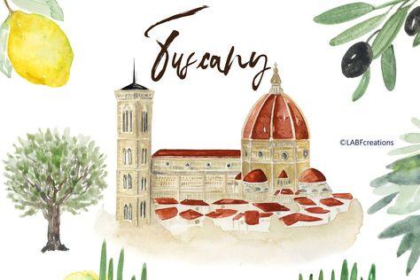Tuscany Italy Watercolor maps & food