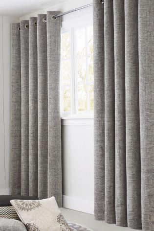 This Grey Chenille Drape Is Perfectly Framing A Unique Window To Create An Interior Design Oozing Sophisti Chenille Curtains Family Room Curtains Cool Curtains Lined bedroom curtains ideas