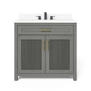 Home Decorators Collection Erinton 36 In W X 21 In D Vanity In Antique Grey With Engineered Stone Vanity Top In White With White Basin Hdpnt36v The Home Dep In 2021