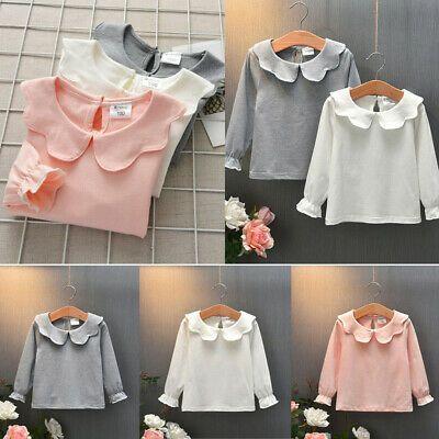 Baby Girl Long Sleeve O Neck T-shirt Kids Ruffle Frill Tops Princess Blouses NEW