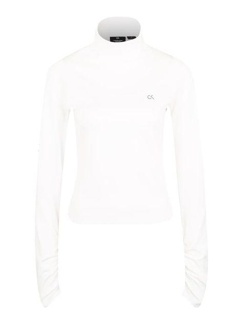 Calvin Klein Performance Sport Sweatshirt Mock Damen Weiss Grosse L Damen Rollkragen Und Sport