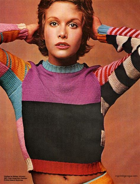 Bringing retro knits back   Coty Cosmetics / Clothes by Betsey Johnson 1971  #knit #knitting #retro #knittedsweater #knitwear #knitfashion #style #fashion #model #colorful