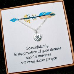 gift boxed card graduation gift Sterling Silver Heart Compass necklace