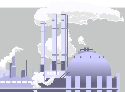 contaminación, industria, ilustración, dibujo